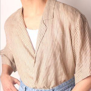 "VTG ""Albert Nippon"" 100% Linen Faux-Wrap Top"